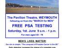 FREE PSA TESTING – WEYMOUTH PAVILION – SATURDAY 1st JUNE 2019