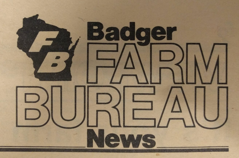 Masthead from the Badger Farm Bureau News. Circa 1983.