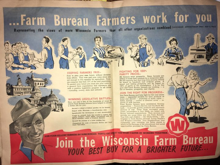 A WFBF membership advertisement that was printed in an issue of the Wisconsin Agriculturist in 1956.