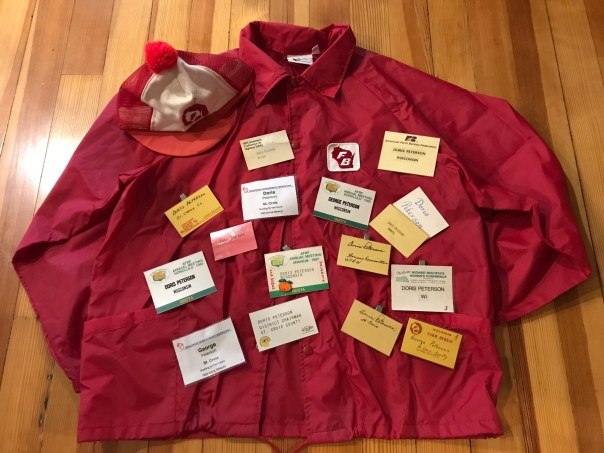 Doris and George Peterson's family were instrumental growing the St. Croix County Farm Bureau and it's Women's Program in its early years. This Farm Bureau jacket and hat were among Doris's favorites.