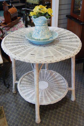 Three Piece Antique Wicker Indoor Outdoor Set