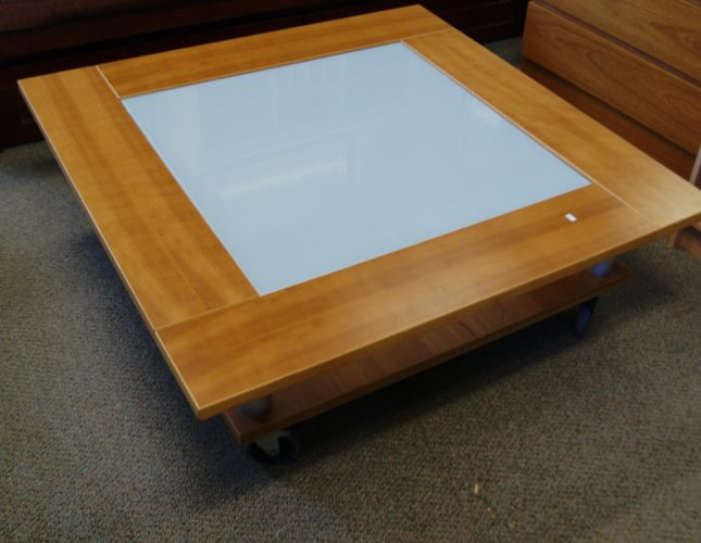 Mid Century Modern Coffee Table Features: By Gangso Made In Denmark Solid  Teak With Frosted Glass Top Insert. Bottom Shelf And Castor Wheels