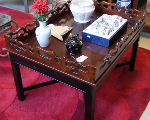 Scalloped Carved Tray Coffee Table