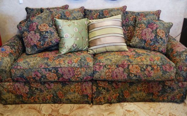 Floral Sofa With Pillows