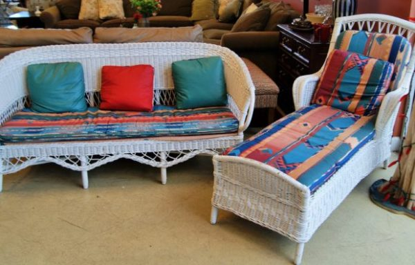 Vintage White Wicker Chaise and Love Seat Priced Separate