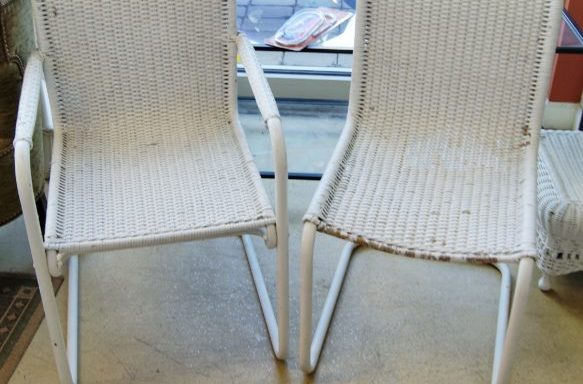 2-Vintage White Wicker Cantilevered Chairs Priced Separate