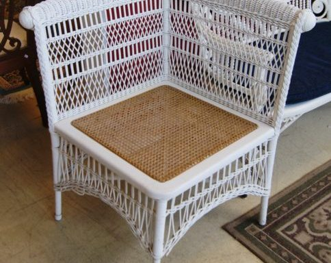 Vintage Corner Wicker and Rattan Chair