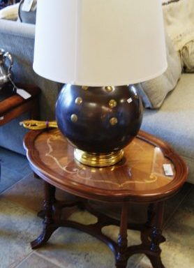 Antique Inlaid Oval Side Table
