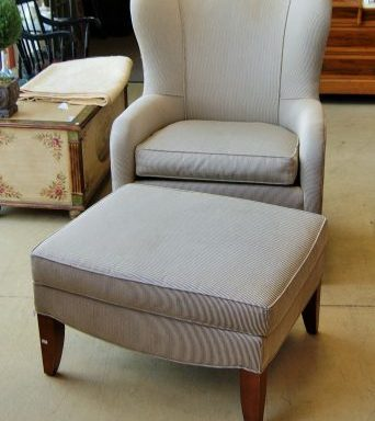 Wing Back Arm Chair And Ottoman