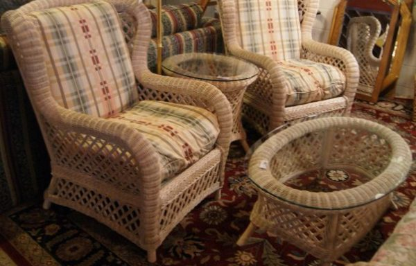 Distressed Wicker Sofa and Wing Back Chairs-Side Tables Priced Separate
