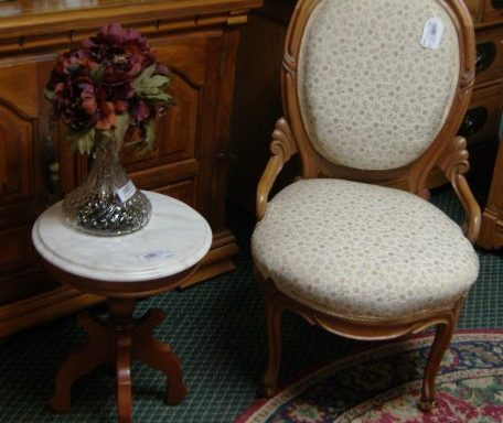 Antique Parlor Chair And Side Table Priced Separate