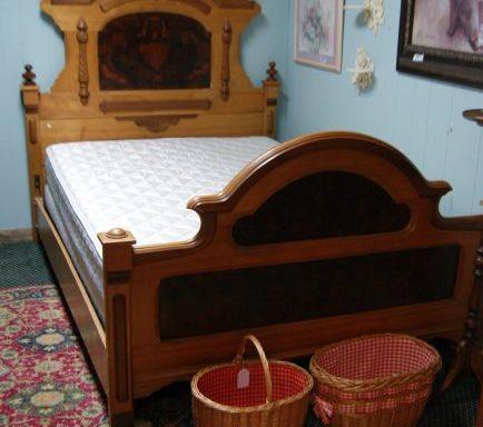 Antique Bed-Chest-Dresser With Mirror Set