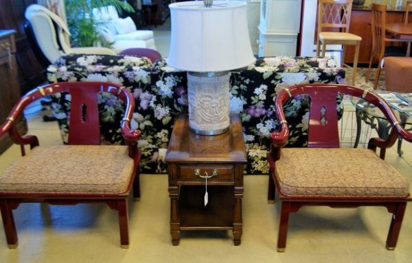 James Mont Style Century Red Horseshoe Back Lounge Chair Set