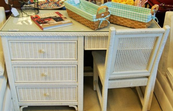 Wood Frame White  Wicker Desk and Chair Set