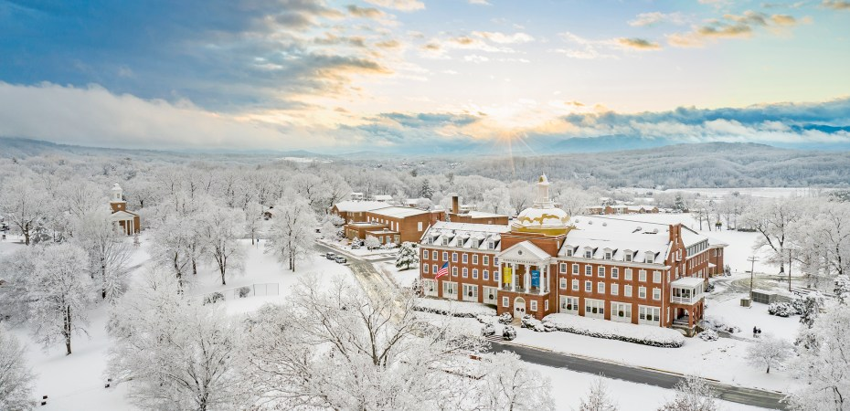 The sun begins to melt a light snow on the copper dome at Randolph-Macon Academy on the afternoon of Jan. 10, 2020. Courtesy of Brian Kelly, R-MA Director Unmanned Flight.