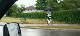 A Stormtrooper Unicycling in the Rain