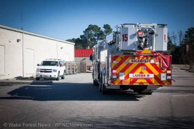 Rolesville Ladder 15 looks almost as tall at the Dollar General.
