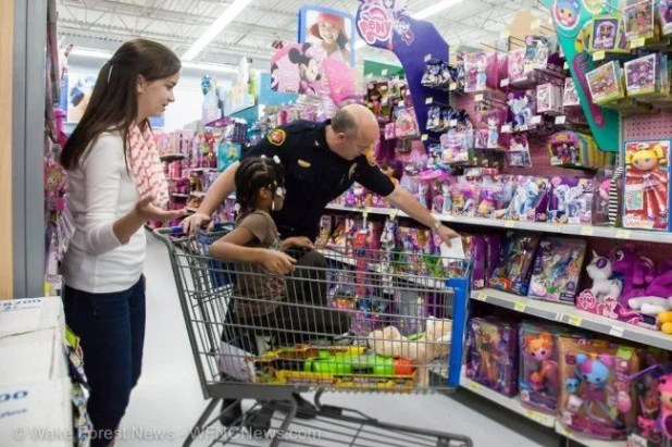 Chief Leonard unveils his magical Little Pony shopping skills as his daughter looks on with wonder.