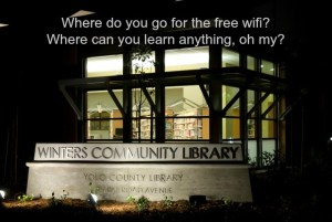 Winters Community Library at night. Where do you go for the free wifi? Where can you learn anything, oh my?
