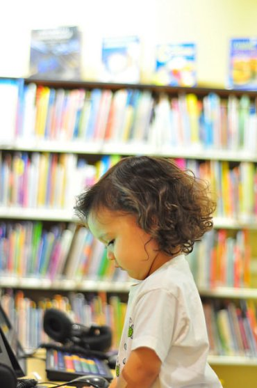 Books for Babies recipient at the library.