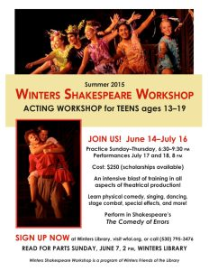 Upcoming Auditions for Winters Shakespeare Workshop for Teens!