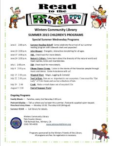 Winters Community Library Summer Reading Program Flyer