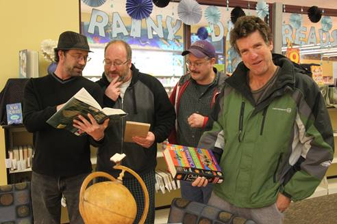 The Warrior Video team practicing at the library for the big Quiz Show in 2014 with Matt Archebique and friends.