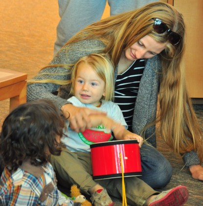 Mom and children at Story Time at the Winters Community Library