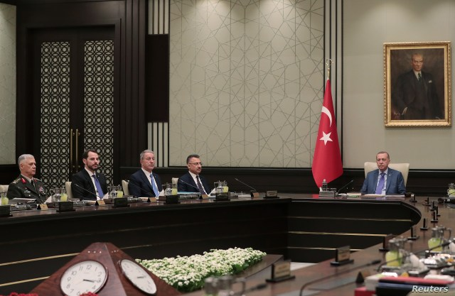 Turkish President Recep Tayyip Erdogan chairs a meeting of the National Security Council in Ankara, Turkey, July 30, 2019.