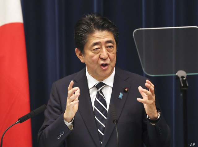 Japanese Prime Minister Shinzo Abe speaks during a press conference at Abe's official residence in Tokyo, June 26, 2019.