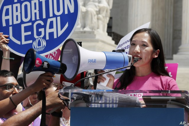 FILE - Planned Parenthood President Leana Wen speaks during a protest against abortion bans outside the Supreme Court in Washington, May 21, 2019. Wen, who became the president in November 2018, was forced out of her job July 16, 2019.