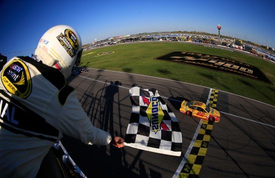 during the NASCAR Sprint Cup Series Hollywood Casino 400 at Kansas Speedway on October 18, 2015 in Kansas City, Kansas.