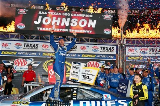 during the NASCAR Sprint Cup Series AAA Texas 500 at Texas Motor Speedway on November 8, 2015 in Fort Worth, Texas.