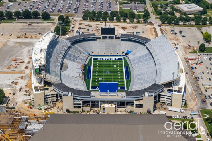 An aerial view of the updated Commonwealth Stadium in Lexington.
