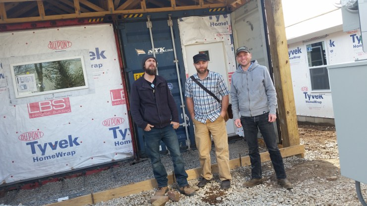 Kris Nonn (center) with project manager Jason Clarkston (left) and engineer Benjamin Clements.