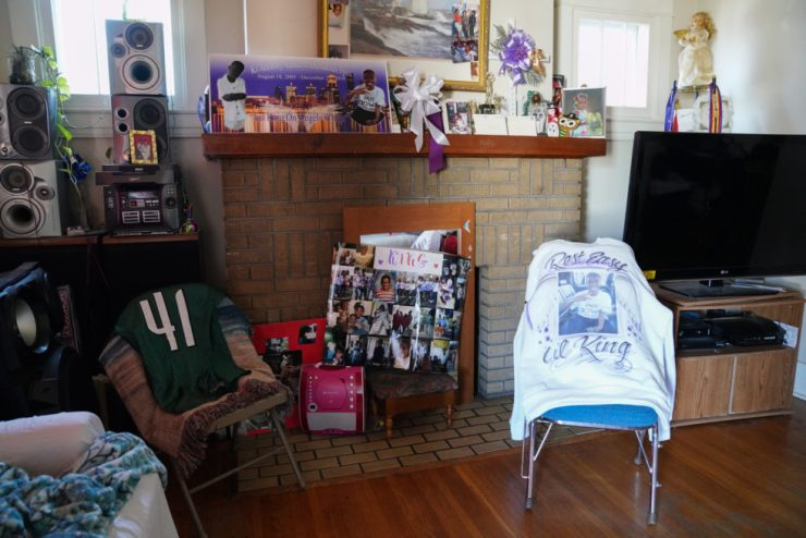A shirt and decorations remembering Ki'Anthony are on display in Ernestine's living room