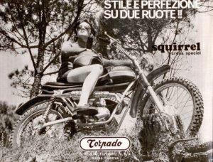 Squirrel torpado Pubblicità moto anni '70
