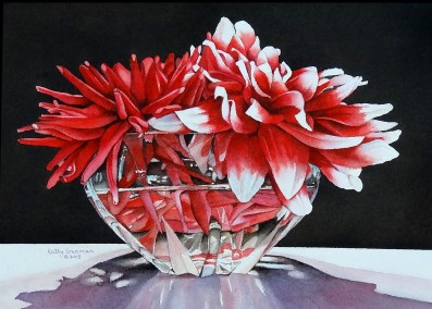"""Crystal Bowl with Dahlias"""