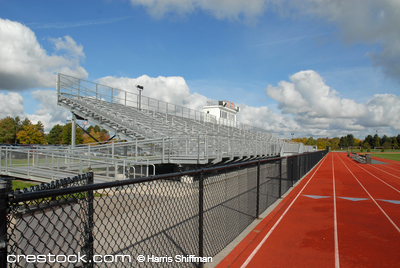 College running track and bleachers, Rochester, New York