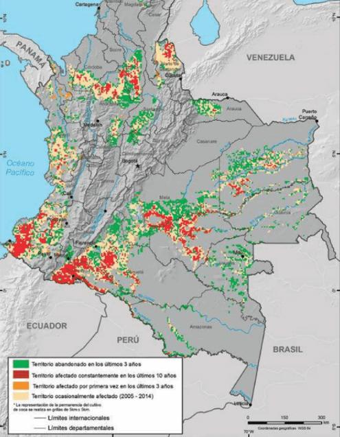 Según el reporte de drogas hecho por http://www.odc.gov.co/Portals/1/publicaciones/pdf/odc-libro-blanco/OD0100311215_reporte_de_drogas_de_colombia.pdf