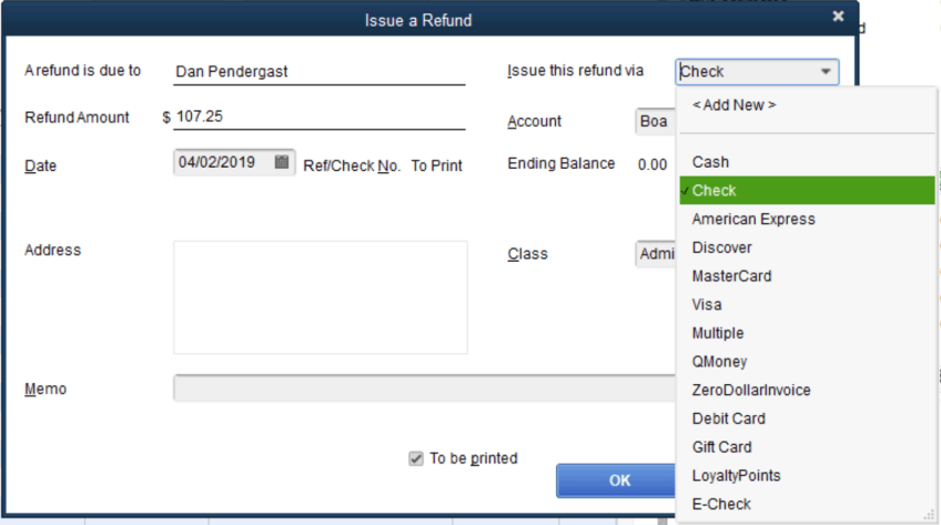 Choosing which payment method to refund in Quickbooks