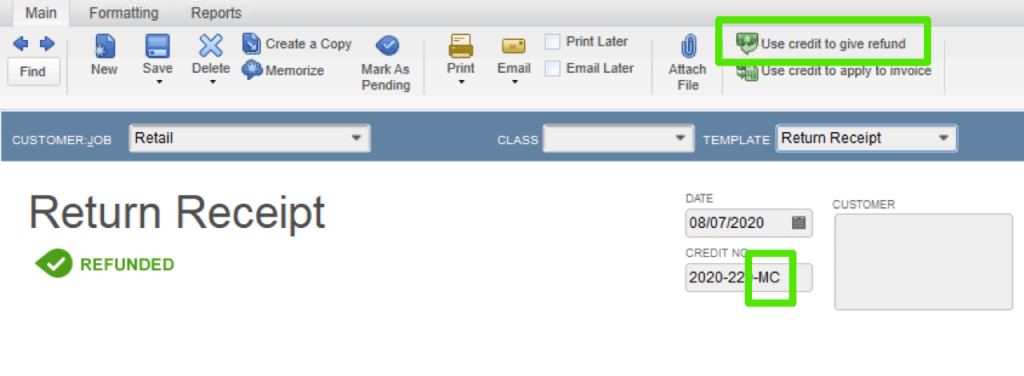this image shows the quickbooks credit memo and how to refund