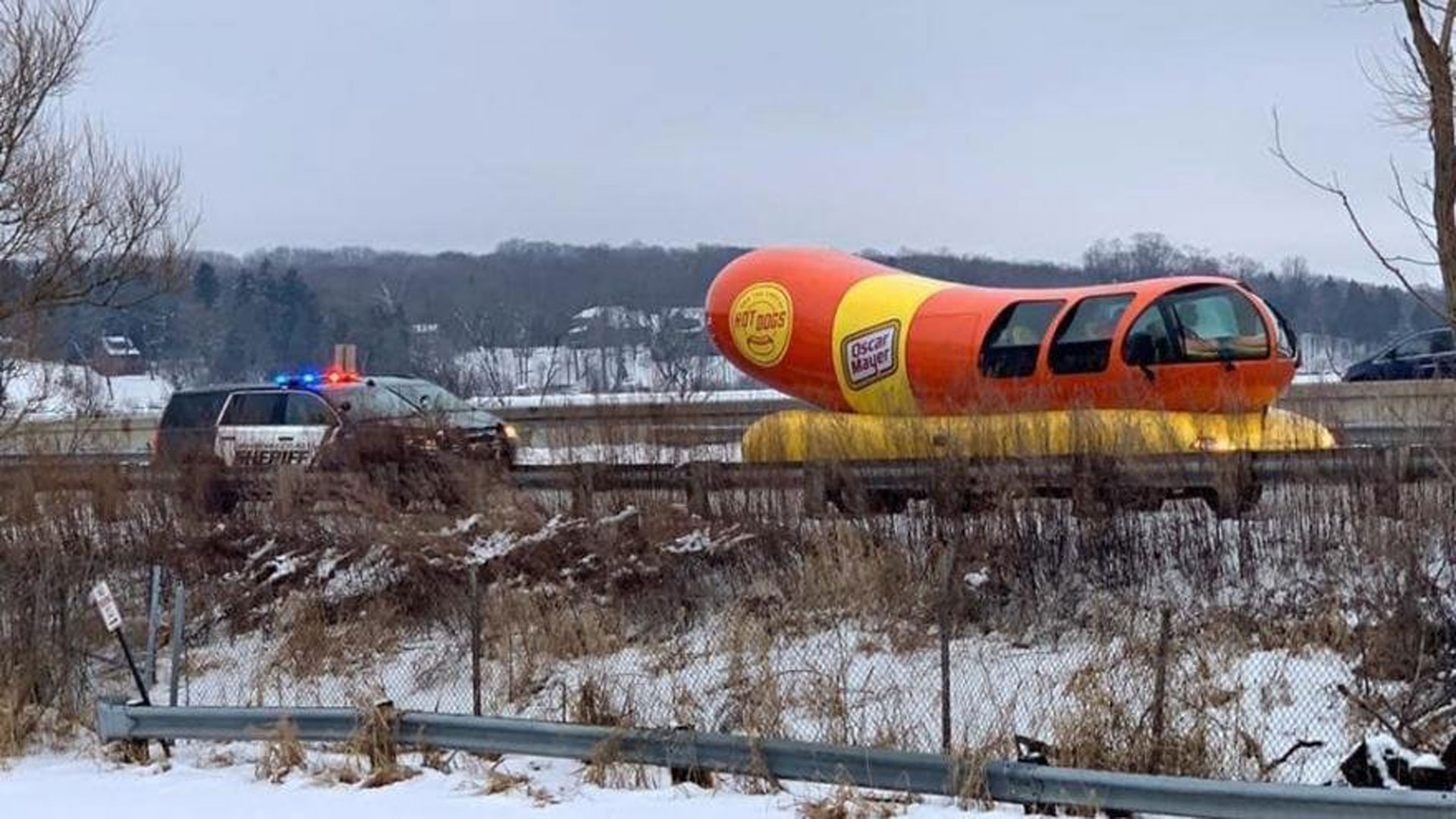 Wienermobile pulled over