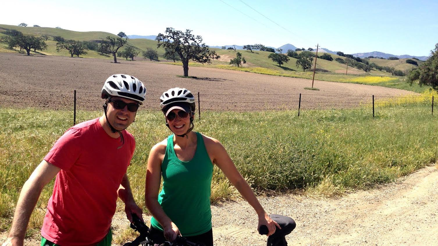 OTL host Mike Stephen practices bicycle safety with his wife Jenny on a bike tour of wine country outside of Santa Ynez, CA. [circa 2014]