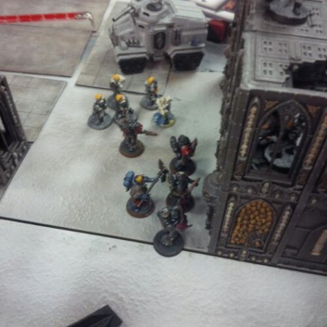 Death Company Space Marines about the scale the ruin