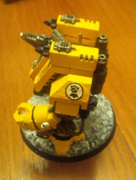 """Imperial Fists Space Marine Dreadnought """"Fort"""" (Other Side View)"""