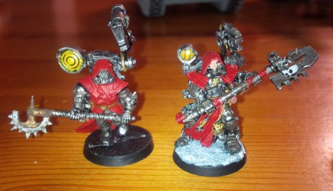 Chaos Cultists converted to techpriest (left), and stock Techpriest from Games Workshop (right)