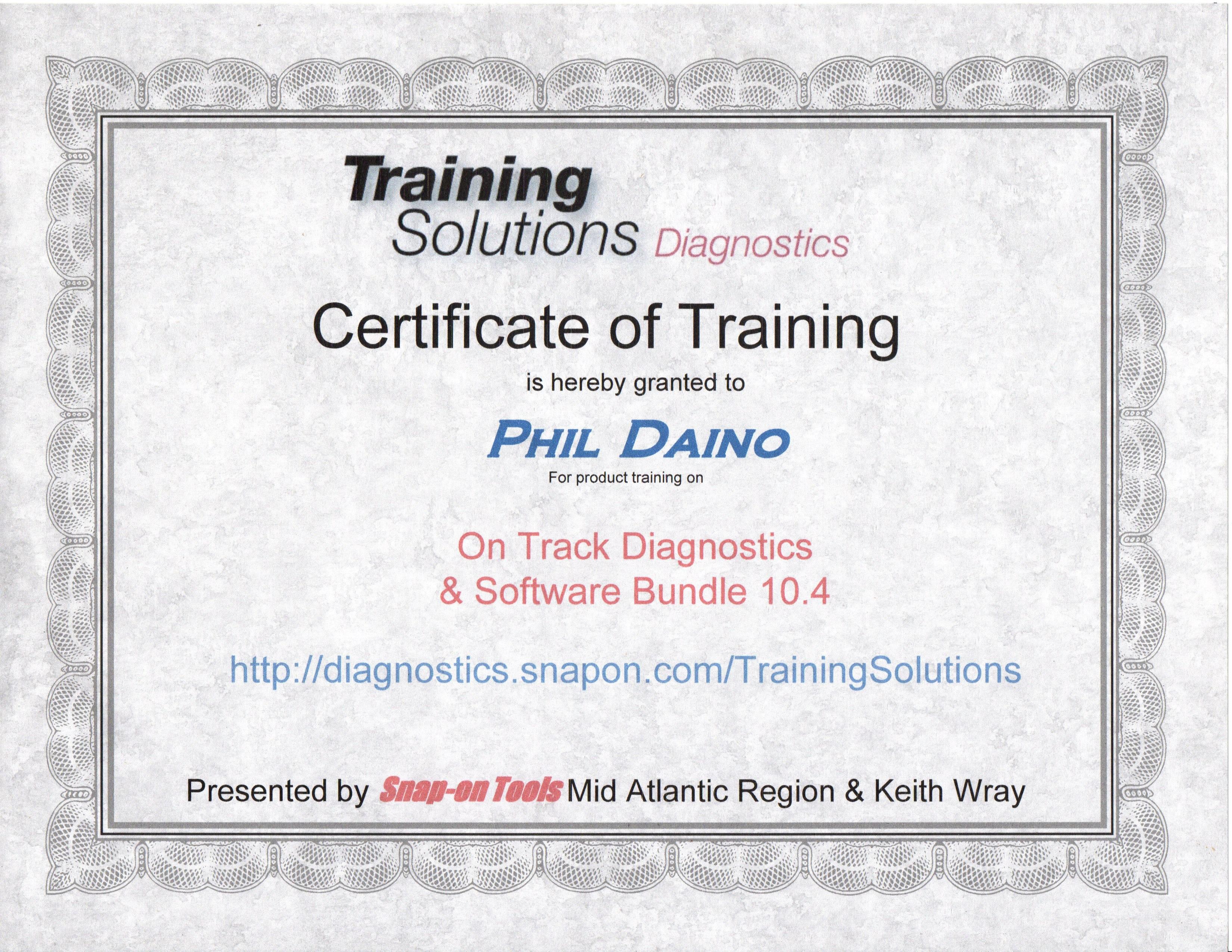 Whalen S Auto Repair Training Certificates