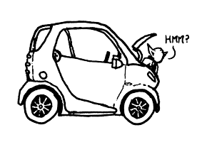 yoda in the engine block of a Smart Car