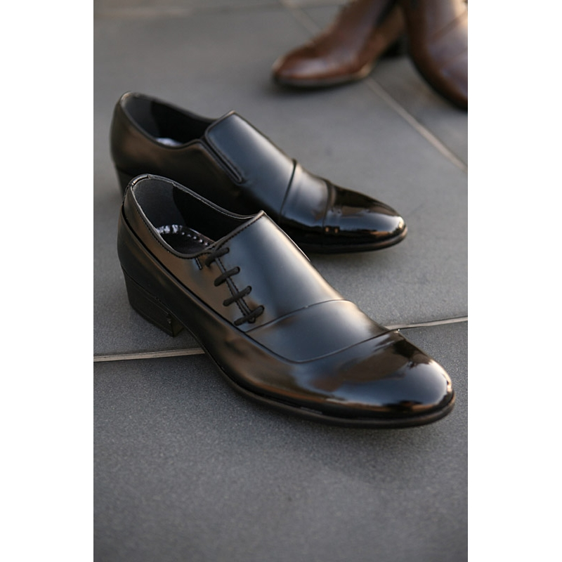 Mens China Style Side Lace Up Wrinkle Band Oxfords